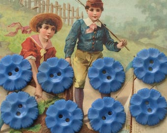 Blue Flower Buttons for Altered Art & Mixed Media Projects Embossed Vintage Set of 8