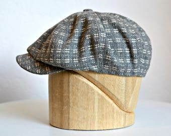Men's Newsboy Cap in Vintage Gray and White Wool - Newsboy Hat - Men's Hat