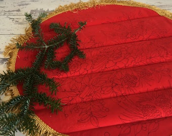 Vintage Red Velvet Embroidery Pattern Christmas Topper Tree Skirt Velvet Cardinal Liquid Embroidery with Instructions