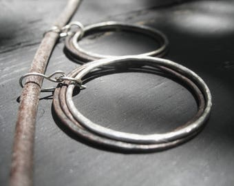 Hunter's Moon - Tres Hoops Reclaimed Copper Silver Medium Hoop Earrings Handmade Wires Jane Plain Talisman Jewelry