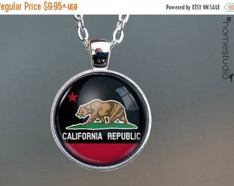 ON SALE - California Flag (BLK) : Glass Dome Necklace, Pendant or Keychain Key Ring. Gift Present metal round art photo jewelry by HomeStudi