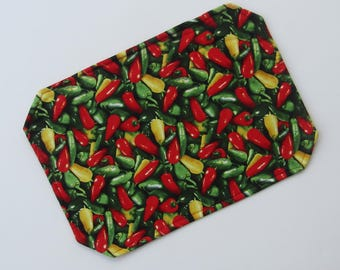 Placemat, Reversible, Insulated, Chili Peppers, Red, Green, Gold,  Hot Peppers, Table Linens, Table Placemats