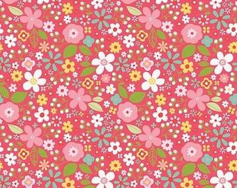 ON SALE Riley Blake Designs Garden Girl by Zoe Pearn - Floral Raspberry