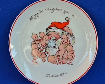 Kewpies with Santa Claus Vintage Commemorative  Plate - Rose O'Neill - Let Joy Be Everywhere Christmas 1973 - Cameo Exclusive -Holiday Decor