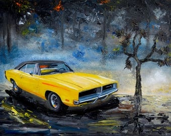 Yellow 1960's Dodge Charger, Original oil painting, Dodge, 1969, car, classic car, gift, present, men, fathers day, route 66