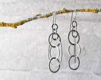 fine silver earrings, boho drop earrings, torch fused rings, forged silver earrings, silver dangle earrings, sterling ear wires