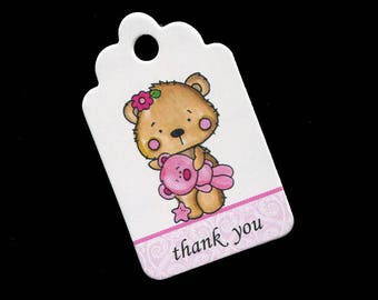 Baby Shower Tags - Baby Girl Tags - Baby Shower Favor Tags - Thank You Tags - Teddy Bear - Pink