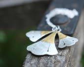 Lotus Flower. Sterling silver pendant with 24kt gold. Lotus pendant, flower pendant, gold necklace, ancient egypt, gingko pendant.