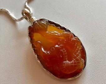 Carnelian Pendant With Sterling Silver-Carnelian Dragon Gemstone