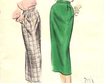 1950's Pencil Skirt Waist 24 Vogue 8052 Easy Vintage Sewing Pattern