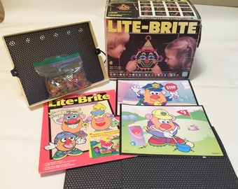 Vintage Hasbro Lite Brite Toy Mr. Potato Head 10 Unused Picture Refills and Pegs