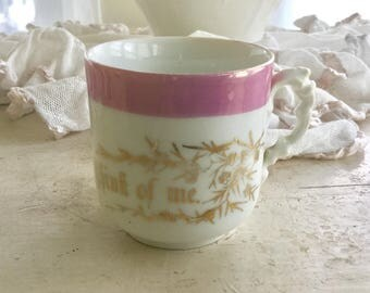 German Lusterware Think of Me Gift Cup Floral Porcelain Precious Antique White Pink Sweet