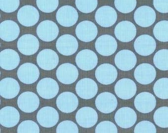 OOP Amy Butler - Full Moon Polka Dots in Blue - by the Yard - Blue and Gray - Designer Fabric - Lotus Collection