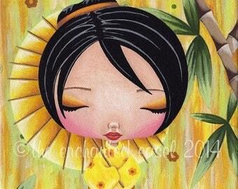 50% OFF Yellow Kokeshi, Painting, Girls Room, Japanese, Kawaii, Cute, Square, Whimsical, Girls Wall Art, Nursery Art, Bamboo, Tiny Doll, Kim