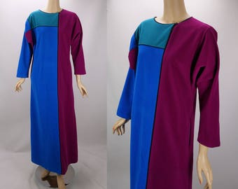 1980s Vintage Robe Velour Color Block Lounging Robe by Kayser Sz S