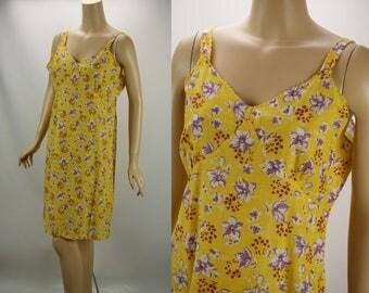 Vintage Feedsack Slip / Dress Bright Yellow Floral B44