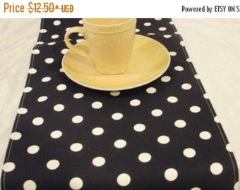 ON SALE POLKA Dot Linens- Table runner, napkins, placemats, white dots on Black Runner,  Wedding, Bridal, Home Decor, Olivia Party