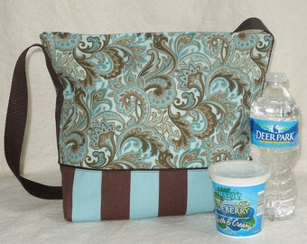 Stripes and Paisley Insulated Lunch Bag in Aqua and Chocolate