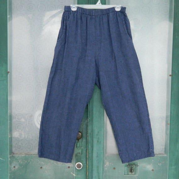 FLAX Engelhart Flood Pants -M- Indigo Blue Linen