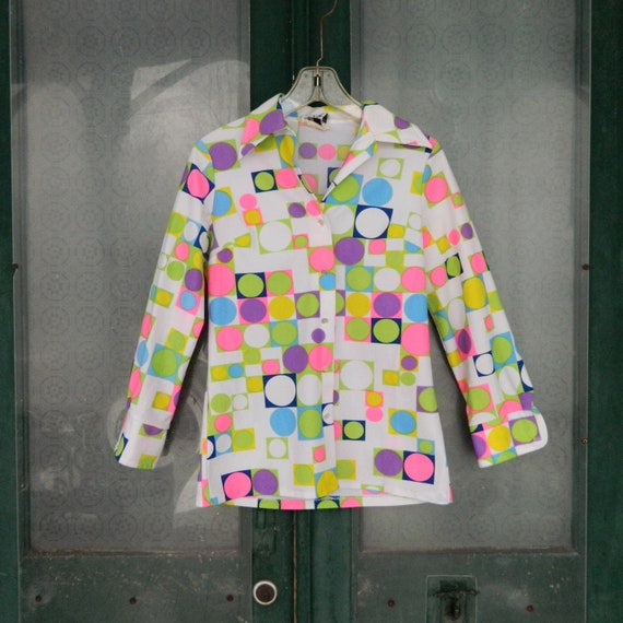 Vintage Spring Mod Polka Dot Blouse a Linda Original -S/M- Neon Green/Pink/Purple/Yellow/White