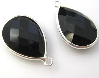 Bezel Gemstone Pendant, Charm - Sterling Silver-Faceted Teardrop Shape -Black Onyx-22mm (2 pcs) - SKU: 201110-BON