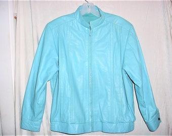 Vintage 80s Preppy Blue Leather Bomber Jacket 38 Mens Turquoise Shoulder Pads