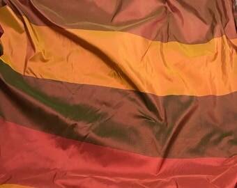 Red Orange & Green Stripe Silk DUPIONI Fabric - fat 1/4