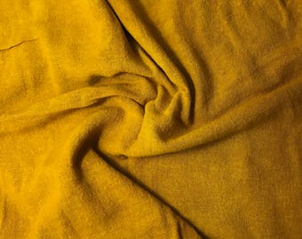 Hand Dyed Honey Mustard Raw Silk Noil Poplin Gauze Fabric - 1 Yard