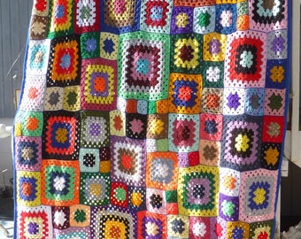 Patchwork Design Cover Extra Large Granny Squares Afghan Throw Babette Blanket Multi Color Mixed Size Squares Gift Idea