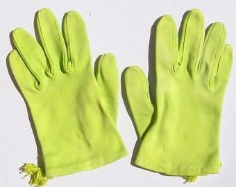 Vintage Cotton Wrist Gloves LIME GREEN GERMAN 6.5 Viola Weinberger