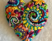 Freeform embroidery heart brooch  Brooch #193