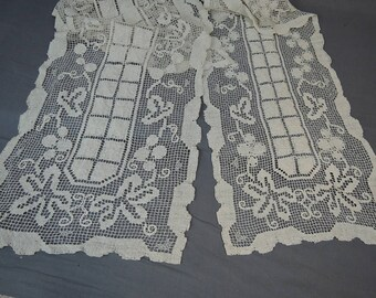 2 Vintage Lace Table Runners, 14x40 and 16x52, Ecru Primative style cotton