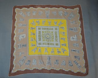 Vintage Silk Scarf with Chairs, 1950s Novelty Print 34 x 34 inches