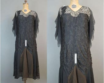 20% Sale - Vintage 1920s Dress Black Lace & Chiffon with Rhinestones, 36 bust, some issues