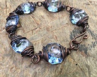 Crystal Bracelet / Wire Wrap Jewelry / Copper / Vintage Prism / Rustic Jewelry / Daniellerosebean / Copper Bracelet