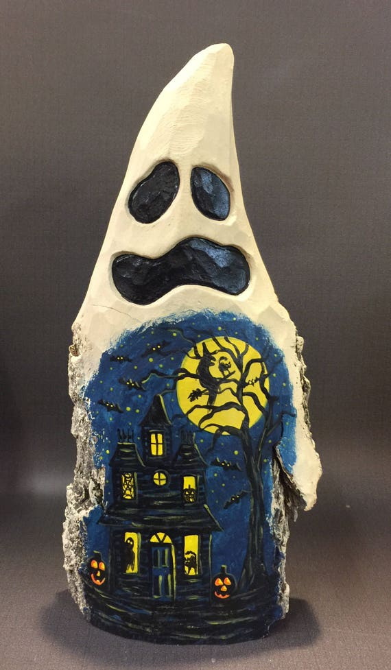 HAND CARVED original  large Halloween ghost with painted scene from 100 year old Cottonwood Bark