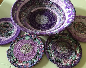 8 Inch Basket Bowl and 4 Coasters in Purples
