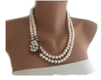 2018 New Design Freshwater Pearl Necklace  with Turtle Brooch Free Shipping WW