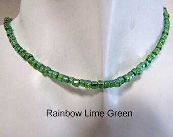 Rainbow LIme Green Choker, BoHo Beaded Choker,  Lime Green Necklace, MInimalist, Bohemian, 14 inch, Extender, choker Necklace, #1289