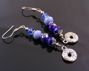 Blue Crystal Earrings, Blue Earrings, Blue Dangle Earrings, Wire Wrapped Earrings, Long Earrings, Something Blue, Blue and Silver Earrings