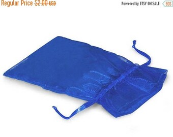 STOREWIDE SALE CLEARANCE 10 Pack Sheer Royal Blue Organza Drawstring Bags  2.75 X 4 Inch Size Great For Gifts, Favors, Sachets, Weddings