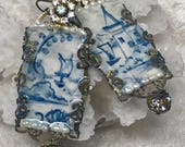 Lilygrace Handpainted Blue ane White Delft Landscape Earrings with Freshwater Pearls  and Vintage Rhinestones