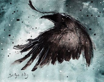 Crow Art - 8x12in Ink painting on canvas A4 20x30cm - Cartoon crow 2