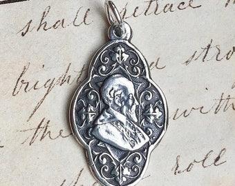ON SALE St Francis de Sales Medal -Patron of writers & deaf people -Antique Reproduction