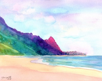 original watercolor painting tunnels beach kauai north shore of kauai hawaiian paintings makana mountian watercolour bali hai kauaiartist