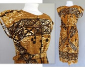 Vintage Barkcloth Dress, Black and Gold Ethnic Tribal Sheath, Fits Size 14, Large