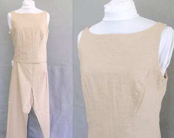 Tan Pants and Top Set, Vintage 1990's Linen Blend Outfit, Modern Size 6 - 8, Small