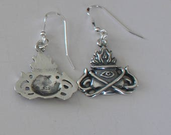 Sterling Silver FLAMING CAULDRON Earrings - Celtic, Pagan, Wiccan