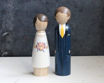 "7"" Large Fully Custom Wedding Cake Toppers - Wedding Table Centerpiece - Oversized Peg Dolls - Fair Trade"