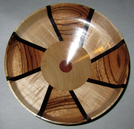"Turned Wood Segmented Bowl – ""Persist"" – Segmented Design with Zebrawood, Maple, Ivorywood and Leopardwood 39-17"